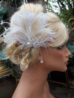 Ivory bridal hair fascinator pearl rhinestone by kathyjohnson3, $48.00