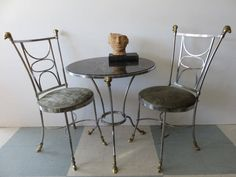 Mid-Century Modern Stainless-Steel And Brass Rams Head And Feet Bistro Table And Two Chairs, In The Manner Of Maison Jansen, Signed Italy. by FLORIDAMODERN on Etsy