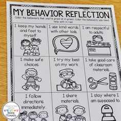 Student self-reflection is so important to help us understand them! Not only does it give us insight into their choices, but more… Classroom Behavior Management, Behavior Plans, Student Behavior, Behaviour Management, Behavior Charts, Classroom Behavior Chart, Kindergarten Behavior, Behavior Report, Kindergarten Class