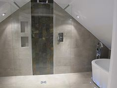 Bathroom/shower room design in a loft conversion – apex roof – soft sand/taupe tiles and white – attic Loft Ensuite, Loft Bathroom, Simple Bathroom, Bathroom Interior, Bathroom Ideas, Bathroom Vanities, Bathroom Remodeling, Attic Rooms, Attic Spaces