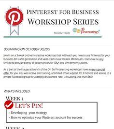 Pinterest for business workshop | Click for more details...