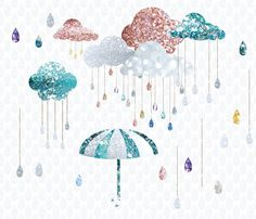 Glitter Rain drops Cloud Umbrella Clip Art High Resolution Digital Graphic Cards Stationary Print Art Greeting Scrapbooking by PrettyDigiDesigns on Etsy
