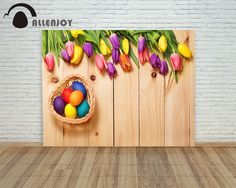 Allenjoy backdrops Easter eggs Wood tulip flower hearts children Photophone photography background background for photos