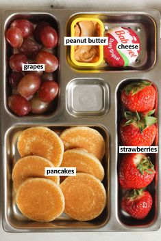Breakfast for lunch? Check out this adorable bento box for your next kid meal prep or snack! Lunch Box Recipes, Lunch Snacks, Baby Food Recipes, Lunch Ideas, Bento Lunchbox, Picnic Lunches, Snack Box, Lunch Meal Prep, Easy Meal Prep