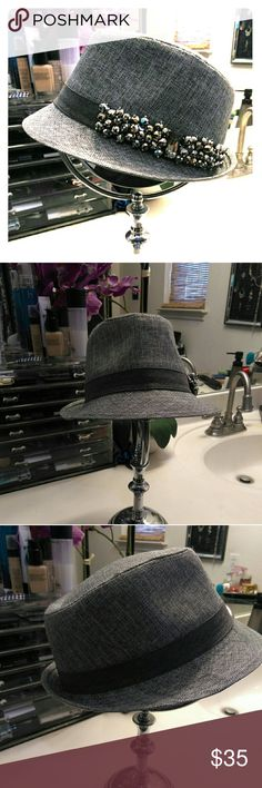 Olive and Pique Fedora hat w Bling Gray Olive and Pique Fedora hat with bling! Very stylish and chic. Worn only once. No rips or tears. Very light wear inside. Very fashionable ; ) Olive and Pique Accessories Hats