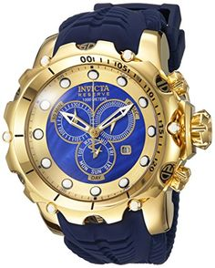Men Watches - Invicta Mens Venom Swiss Quartz Stainless Steel and Silicone Casual Watch ColorBlue Model 20402 >>> You can get more details by clicking on the image. (This is an Amazon affiliate link)