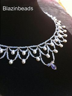 Beadwork Pearls White Beaded Necklace With Pearls Wedding Necklace on Etsy, $55.00