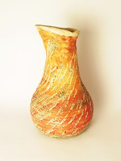 Unique Large Ceramic Orange Vase Handmade Pottery by HadasCeramic Organic Ceramics, Keramik Vase, Pottery Vase, Handmade Pottery, Decoration, Orange Color, Stoneware, Flower Arrangements, I Shop