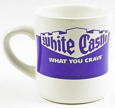 White Castle Coffee Mug What You Crave Blue & White Ceramic Very Good!