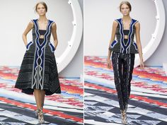 Peter Pilotto Spring 2013..Peter Pilotto is focused towards textiles and prints whereas Christopher De Vos concentrates more on silhouettes and draping.