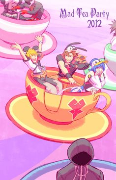 KH - Mad Tea Party by rasenth.deviantart.com on @deviantART hahahahahahahahahaha this is what i do when i go to Disney............................... .............................................................................but what's up with the creepy stoker dude?