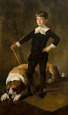 Boy with Cane and St. Bernard Dog by John White Alexander (American 1856-1915)