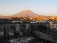 View over the historic centre of Arequipa, with the Volcano Misti on the background.
