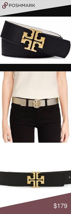 🆕Tory Burch Black/Tiger's Eye Logo Leather belt. You get 2 for 1 with the stylish leather belt (Size SMALL) as it is black on one side and tigers eye (luggage color) on the other side. This 1-1/2 inch reversible belt has the classic logo on the front in gold with a push stud closure. Can dress up or dress down any outfit.... Very versatile. New, never worn with attached tag. Approximate Measurements: 41 inches in length. Tory Burch Accessories Belts