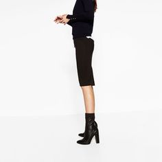 Image 1 of HIGH HEEL STRETCH LEATHER ANKLE BOOTS from Zara