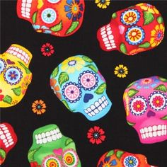 black skull fabric Timeless Treasures Cantina