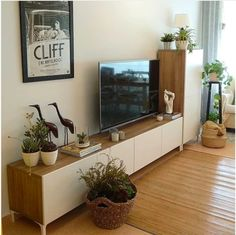 The Besta series is one of IKEA's most popular storage system, traditionally used as media consoles and sideboards. Living Room Tv Unit, Ikea Living Room, Living Rooms, Sala Ikea, Girls Apartment, Sideboard Furniture, Best Ikea, Minimalist Living, Living Room Designs