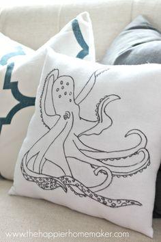 diy anthro knock off pillow octopus