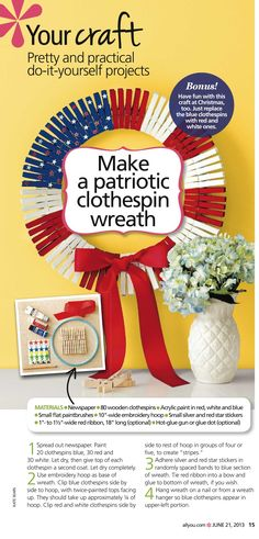 Clothes pin wreath from All You