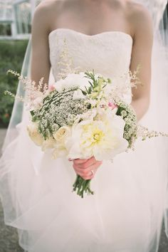 bouquet.  wild flowers.  peonies.  queen anne's lace.  astilbe.  garden roses.
