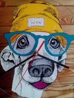 Купить Хай, бро - лимонный, лофт, собака, часы в подарок, часы наручные, витражные краски