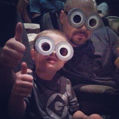 @Ericka Hofmeister Diy Minion Glasses using sunglasses/movie theatre 3d glasses for our costumes lol