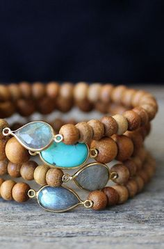 Sandalwood Boho Bracelets Labradorite Turquoise 14K Gold