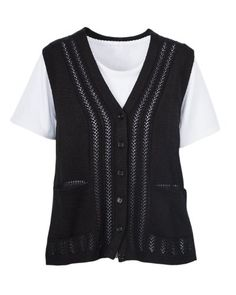 National Classic Sweater Vest, Black, 1X  Mom wants a sweater vest that buttons (no zippers!).  She likes the details of this one from National.