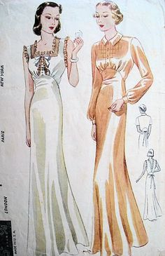 1930s Rare Lingerie Pattern Beautiful Slinky Bias Cut Nightgowns Two Styles Simplicity S611 Vintage Sewing Pattern Bust 32 on Etsy, $75.00