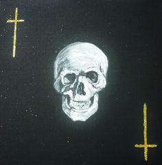 """Calavera"" Acrílico y purpurina sobre lienzo. 28cmx28cm."