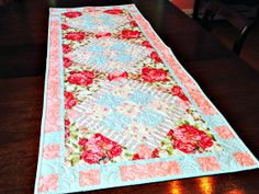 Rose Table Runner Quilted Tabletop Decor by DarBieStitches on Etsy, $65.00