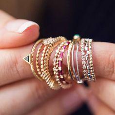 Delicate 18kt gold rings, stuck them up in a true Brazilian fashion! @LizaUrla #ijl2015 #joanasalazar #showmeyourrings If you need more information email info@gemologue.com  www.GEMOLOGUE.com  Photo @gemkreatives @juliaflitphotography