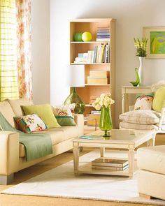 Pops of green add so much freshness to this living room.