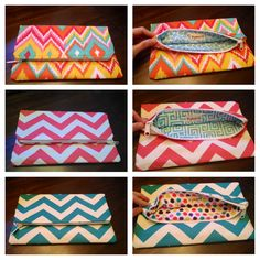 Bright colored fold over clutches