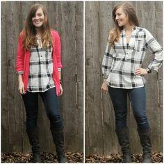 Dear Stitch Fix Stylist: Cute top especially with the bright colored cardigan. ~Michelle
