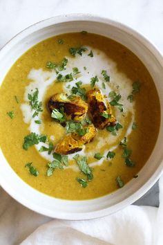 Roasting cauliflower brings out its nuttiness and enhances the flavors in this delicious, healthy soup. If you haven't jumped on the turmeric bandwagon yet, this is a great place to start! I like to reserve some of the roasted cauliflower as a garnish for the soup.