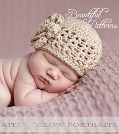 Crochet Hat PATTERN Baby Girl Crochet Hat V di BeautifulPatterns