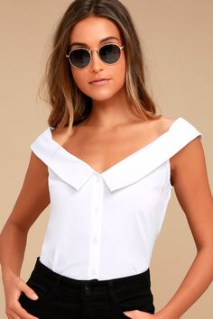 b4c79a523d0f14 Live a Little White Off-the-Shoulder Top