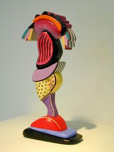 Ida Kohlmeyer - Slanted 96-2, 1996, mixed media on wood, 8.25 x 4 x 2 inches