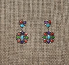 Vintage Native American Multi Gemstone  Earrings plus Free USA Shipping! by Route66Diner on Etsy