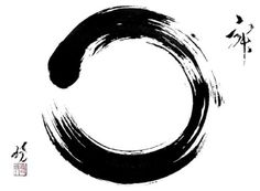 "In Zen Buddhism, an ensō (円相 , ""circle""?) is a circle that is hand-drawn in one or two uninhibited brushstrokes to express a moment when the mind is free to let the body create.  The ensō symbolizes absolute enlightenment, strength, elegance, the universe, and mu (the void). It is characterised by a minimalism born of Japanese aesthetics."