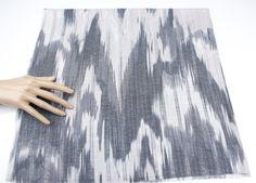 Gray Ikat Like Printed Rib Knit Fabric LIght by felinusfabrics