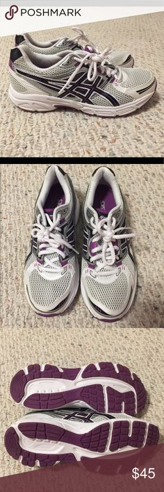 Asics Gel Size 8  women's Athletic Shoes Asics Gel Women's size 8 Athletic Shoes. Colors are white, purple, black and silver. These shoes are practically new, worn a couple of times on the treadmill only. From a smoke free home. Asics Shoes Athletic Shoes