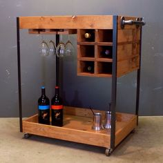 Industrial Bar Cart made of pine, steel and black pipe with casters in a Cherry finish.
