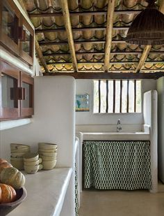 Sunday Serene Via Rustic Kitchen, Kitchen Decor, Kitchen Design, Bamboo House Design, Mud House, Sweet Home, Interior Decorating, Interior Design, Traditional House
