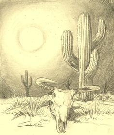 best image i could find of cactus.whack a sleeping mexican w guitair over his back and coloured poncho along w searing sun and long horned steer skull and,boom,theres one side of the truck right there Cactus Drawing, Cactus Painting, Cactus Art, Cactus Flower, Bull Skull Tattoos, Bull Skulls, Wüsten Tattoo, Coyote Drawing, Desert Drawing
