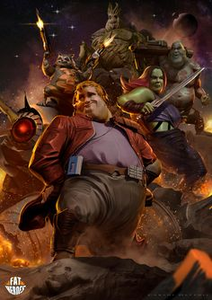 Let's take a closer look at the work of Carlos Dattoli and his anticipated illustration series entitled: Fat Heroes II. Hq Marvel, Marvel Movies, Captain Marvel, Comic Character, Character Design, Thundercats, Marvel Wallpaper, Guardians Of The Galaxy, Avengers