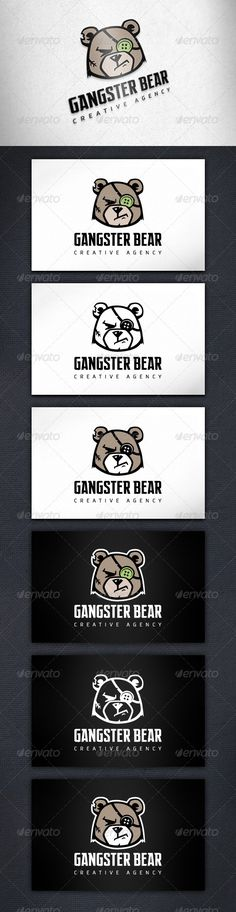 Gangster Bear  Logo Design Template Vector #logotype Download it here: http://graphicriver.net/item/gangster-bear-logo-template/6367051?s_rank=94?ref=nexion