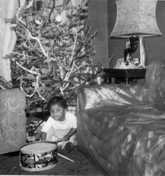 Vintage Christmas...dig the plastic furniture covers