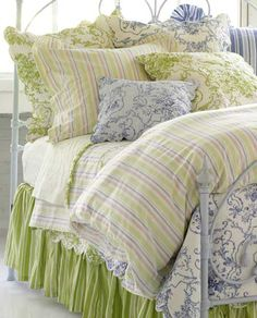 Image Detail for - Pine Cone Hill Cottage Toile Celery Quilt Bedding | Pine Cone Hill .
